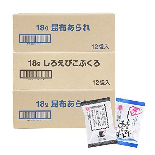 米蔵 あられ2種セット 国産もち米使用 富山 丸米製菓 (36袋(しろえびこぶくろ12袋、昆布あられ24袋))