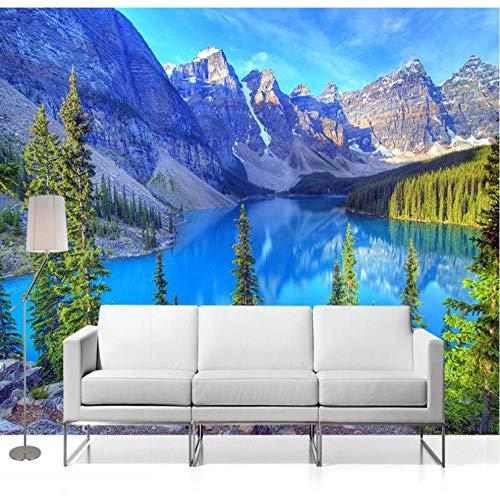 Papel tapiz fotográfico 3D, murales, paisaje natural, nieve, montaña, bosque, lago, mural de pared, sala de estar, sofá, TV, telón de fondo, papeles de pared-L