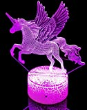 Luces de Noche de Unicornio 3D, Juguetes para Niñas Niños Lámpara de Ilusión de Hadas 3D para Decoración de Dormitorio con 7 Cambios de Color(U)