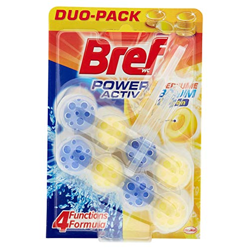 Bref Power Activ Lemon Detersivo per WC, Sfere detergenti Bref WC per la pulizia e l'igiene totale, WC detergente anti-calcare, 1 confezione da 2 x 50g