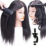 SILKY 100% Real Hair Mannequin Head with Stand, Hairdressers' Practice Training Head and Cosmotology Doll Head for Hairstyling and Braid - Natural Black
