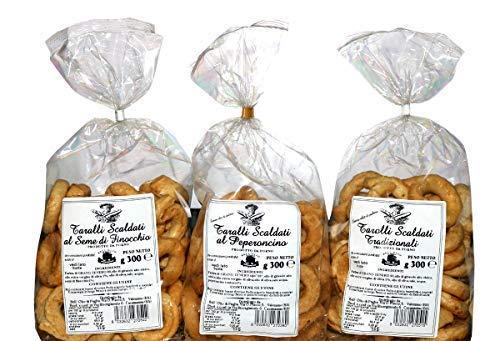 Pack 3 Taralli von Apulien | Backprodukt ideal für Snacks Das Paket enthält Taralli mit Olivenöl, mit Fenchelsamen, mit Chili | Handgefertigtes Produkt