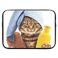 頭にバスタオルを巻いた猫 PCケース ノートパソコンバッグ ラップトップ用 保護ケース 耐衝撃 撥水加工 軽量 ビジネスバッグ ハンドルバッグ ブリーフケース タブレット ケース スリーブ 13-15インチ