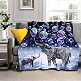 Elephant Blanket Cute African Animals Print Throw Blanket Colorful Dreamy Bubbles Pattern Bed Blanket Cozy Lightweight Flannel Fleece Blankets for Bedroom Living Room Sofa Couch