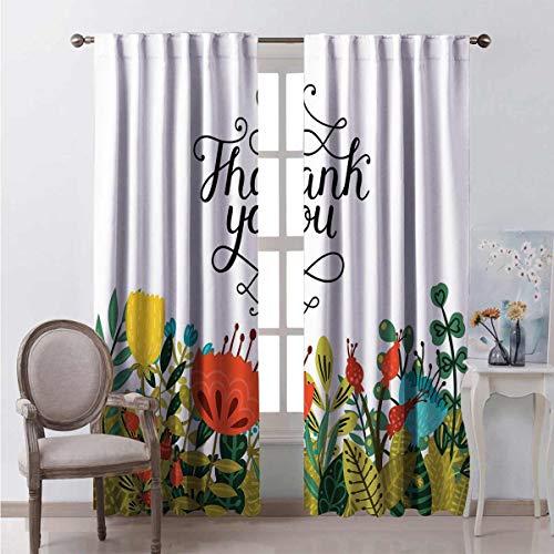 Toopeek - Cortina opaca con texto 'Thank you', diseño de flores, 2 paneles, 84 x 84 pulgadas, multicolor