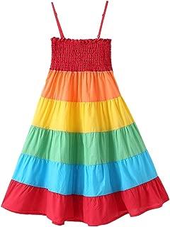 Baby Girls Rainbow Dress Boho Toddler Pageant Princess Sleeveless Halter Beach Sundress