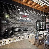 Iusasdz カスタム壁紙3D黒と白の高層ビル街並みテレビ背景壁英国風黒電話ボックス壁紙A-400X280Cm