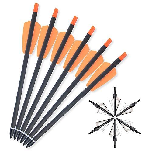 SHARROW 12pcs Flechas de Ballesta 15 Pulgadas 7.3 Pulgadas Flechas de Carbono Pernos Flechas para Ballesta Spine 350 con Punta de Flecha de Cuchilla