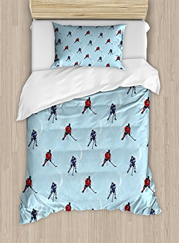 Ambesonne Sport Duvet Cover Set, Abstract Lines Background Ice Hockey Pattern Competitive Match Winter Season, Decorative 2 Piece Bedding Set with 1 Pillow Sham, Twin Size, Black Blue