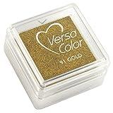 Rayher 28395620 Stempelkissen 'Versacolor', Stempelfläche 2,5x2,5 cm, brillant gold