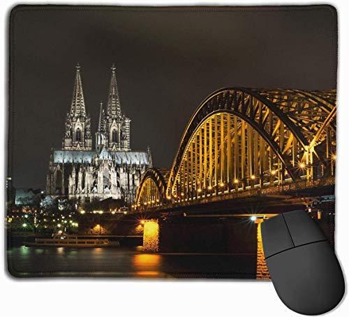 Köln Bei Nacht Gaming Muis Mat Pad Muis Mat Antislip Rubber Base Oppervlak voor Computer PC Toetsenbord en Bureau 9.8