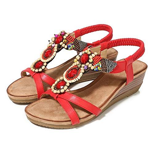 ZHAO YELONG Sommer Frauen Sandalen Retro Gummiband Round Head Schuhe (Farbe : Rot, größe : 37)