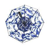 GUIYONGMY Umbrella Spray Fan Umbrella Long Handle Summer Cooling Umbrella Sunny Rainy Day Dual Purpose Waterproof Portable Ultralight Travel (Color : Sky and Clouds)