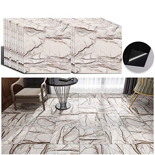 VEELIKE 12''x12'' Vinyl Floor Tiles Peel and Stick Grey Crackles Marble Flooring Tiles Self Adhesive Waterproof Floor Vinyl Sticker Tiles Decorative for Bathroom Bedroom Kitchen Walls Basement 24 Pack