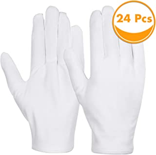 Cotton Gloves, Anezus 12 Pairs White Cotton Gloves Cloth Serving Gloves for Eczema Moisturizing Dry Hands Coin Jewelry Sil...