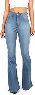Vibrant Women's Juniors Bell Bottom High Waist Fitted Denim Jeans,Denim