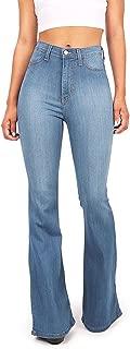 Women's Juniors Bell Bottom High Waist Fitted Denim Jeans,Denim