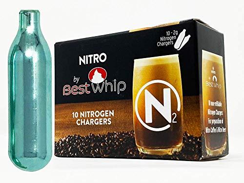 Pure Nitrogen Cartridges for Nitro Cold Brew Coffee - N2 Cartridge 10-Pack – For Use with Nitro Cold Brew Coffee Dispenser - Nitro Chargers for NCB Coffee, Cocktails, Tea - 2 gram Cartridges