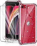 YIRSUR Cover Compatibile con iPhone SE 2020/8 / 7 con 2 Pezzi Vetro Temperato Pellicola Protettiva, Glitter...