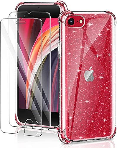 YIRSUR Cover Compatibile con iPhone SE 2020/8 / 7 con 2 Pezzi Vetro Temperato Pellicola Protettiva, Glitter Custodia Trasparente Protettiva Antiurto con Paraurti in TPU Morbida (Glitter)
