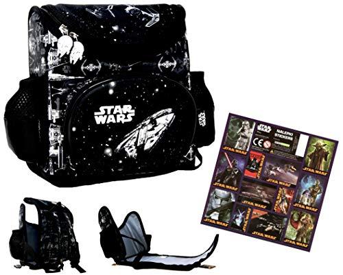 Star Wars – Mochila de guardería – para la fiambrera, botella de agua, preescolar, mochila + 12 pegatinas de Star Wars