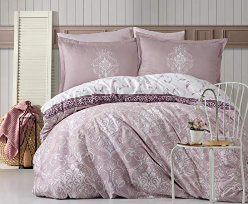 ZIRVEHOME Satin Bettwäsche 200x220 cm. Rosa/Weiß, 100% Baumwollsatin, 5 teilig Baumwollsatin Bettbezug Set Atmungsaktiver, Reißverschluss, Model: Rodisa