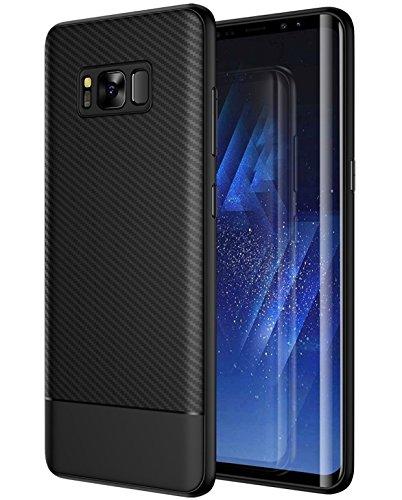 MADIBA Hülle kompatibel mit Samsung Galaxy S8 Carbon Design Schwarz Black Optik (Ultraleicht) Silikon Bumper dünne Handyhülle Cover