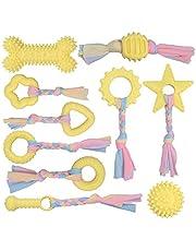 YMHPRIDE 10 opakowań zabawek szczeniak żucie piszczące zabawki zestawy prezentów naturalna bawełna zabawka dla szczeniaków ząbkowanie trwała i zmywalna, dla małych i średnich psów