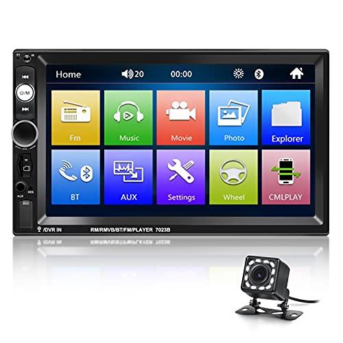 NHOPEEW Doppel Din Radio Android/iPhone Spiegel Link 7 Zoll 2 Din Autoradio HD MP5 Touchscreen Monitor Stereo für IOS / Android Telefon mit Dual USB Lenkradsteuerung SD AUX Eingang und Auto Kamera