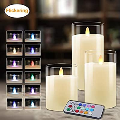 Flameless Candles Glass Votive Candles Battery Operated Lights LED Tea Light Flickering LED Realistic Tealights Real Wax with Timer Holiday Decorations 3 Packs