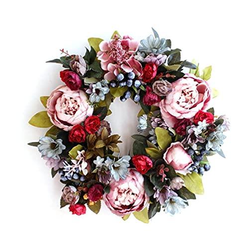 """Unknows 14"""" Artificial Peonies Berries Wreath Door Wreath - Handcrafted Wreath for Front Door Outdoor Home Party Wedding Decor 1"""
