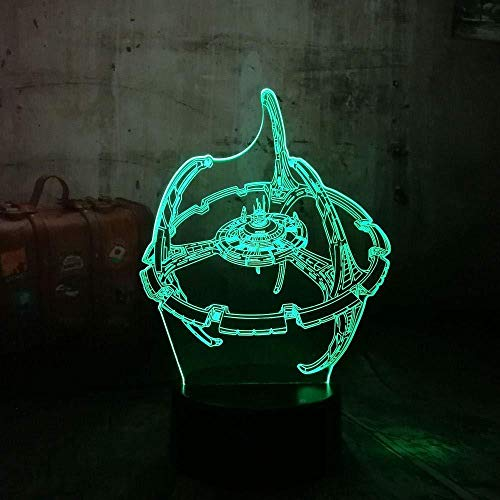 Nachtlicht Modernes Raumschiff 3D LED Illusion Nachtlicht 7 Farbwechsel Acryl Jungen Kinder Film Fans Geschenk Weihnachten Home Decor redlll