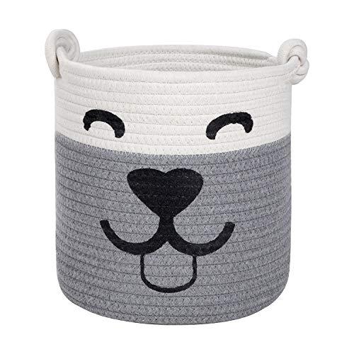 Pet Toy Basket Storage - Smiley Face Dog Cotton Rope Laundry Basket Blanket Storage Bin Dog Toy Storage Box Woven Living Room Organizer Bins 10' x 10' (Medium, Grey White)