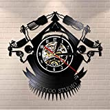 WFQDT Vintage Custom Tattoo Vinyl Record Wall Clock Custom Order Your Design Your Logo Your Image Personalized Tattoo Shop Vinyl Clock