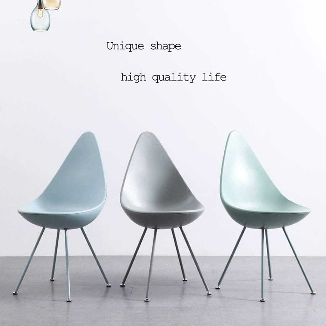 Style nordique PP Chaises salle à manger, Chaises de cuisine Ensemble de 1 Chaises Café en plastique avec pieds en métal PP Dossier Y1108 (Color : Bleu) Gray