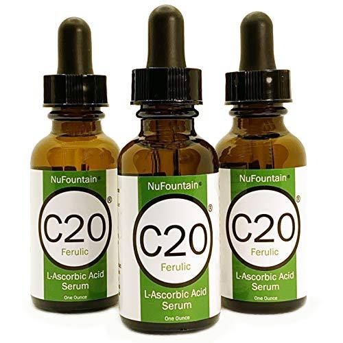 NuFountain C20+Ferulic 3-Pack Vitamin C Serum, Oil Free. 3 1 Oz. Bottles 20% LAA, Ferulic and Hylaronic Serum. Made Fresh When Ordered with