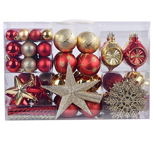 YILEEY Christmas Tree Decorations Baubles Set Gold and...