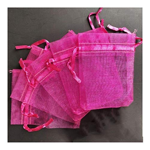 100 bolsas de organza para joyas, bolsas de regalo perfumadas para decoración del hogar (color: rojo rosa, tamaño: 17 x 23 cm)
