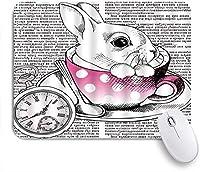 NINEHASA 可愛いマウスパッド コーヒーカップの古代の執筆の動物時計おとぎ話かわいいウサギ ノンスリップゴムバッキングコンピューターマウスパッドノートブックマウスマット