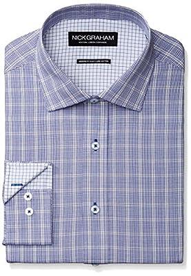 Nick Graham Men's Plaid Poplin Dress Shirt