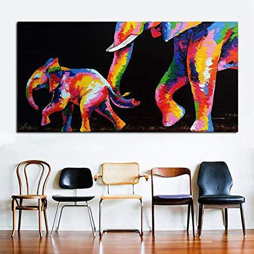 Arte Lienzo Pintura Acuarela Elefante Madre e hijo Grandes cuadros de pared para sala de estar Animal Decorativo