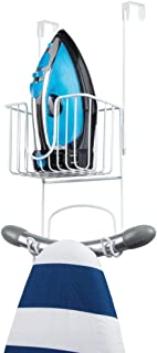 mDesign Metal Wire Over Door Hanging Ironing Board Holder with Small Storage Basket - Organizer Holds Iron, Board, Spray Bottles, Starch, Fabric Refresher - for Laundry, Utility Room, Closet - White