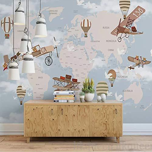 DZBHSCL 4D Behang muurschilderingen, Nordic eenvoudige cartoon wereldkaart hot luchtballoon art print grote muurschildering fotobehang voor kinderkamer kinderkamer kleuterschool achtergrond wanddecoratie 76in×108in 190cm(H) X 270cm(W)