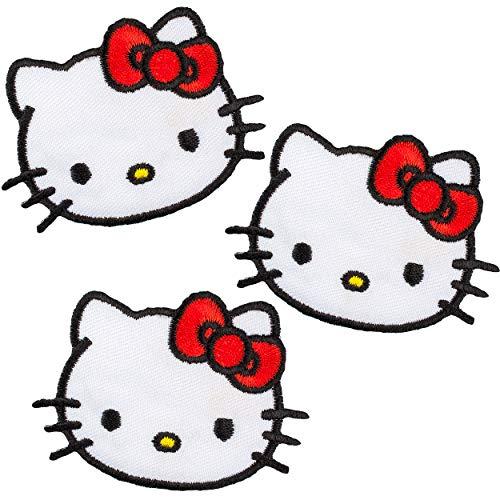 alles-meine.de GmbH 3 Stück _ Bügelbilder / Applikation / Aufbügler - Katze - Hello Kitty - Kopf mit Schleife - 7 cm * 5 cm - Aufnäher / gewebte Flicken - zum Aufbügeln Aufkleben..