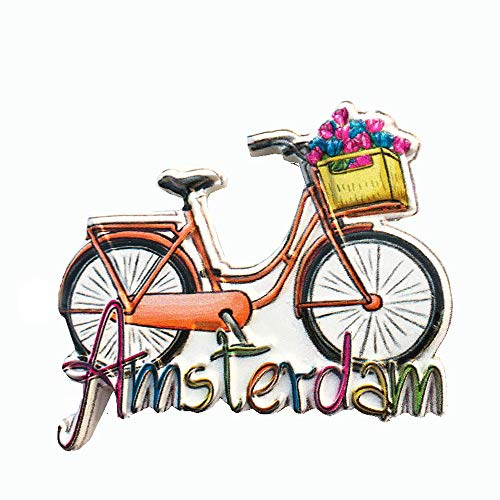 Amsterdam Holland - Imán para nevera 3D (recuerdo de viaje, colección de regalo, decoración para el hogar, cocina, imán para nevera de Países Bajos)