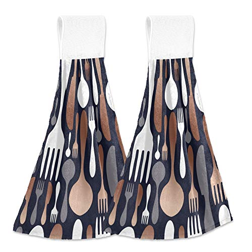 Aslsiy Copper Cutlery Utensil Fork Knife Spoon Hanging Kitchen Towels Spatula Carafe Bathroom Hand Tie Towel Fast Drying Dish Tea Towels for Bath Tabletop Gym Home Decor Set of 2