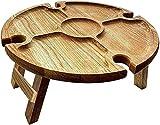 Mesa de Picnic Plegable de Madera para Exteriores con Soporte de Vidrio, Mesa de Picnic portátil y Plegable para Acampar, Mesa de Vino de Picnic para Viajes en el jardín del hogar