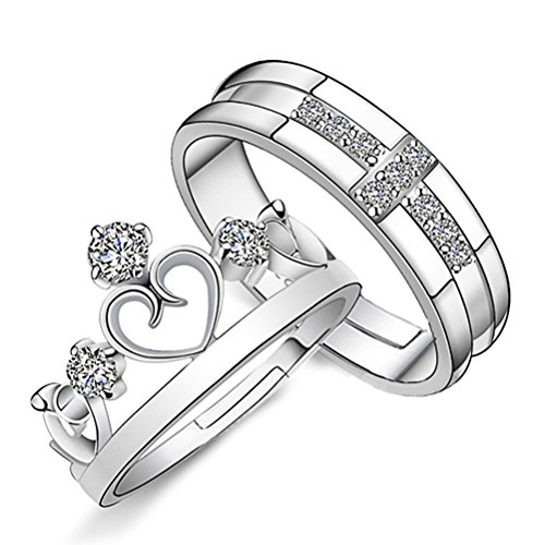 Emorias 1 Pair Anillo de Plata Corona Pareja Amor Eterno Diamante Boda Compromiso Aleación Ajustable Mujer Joyería Regalos Accesorios