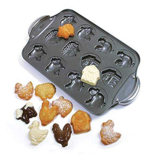 Norpro 3967 12 Cup Nonstick Farm Cookie Pan, 17 x 11 x .5in/43 x 28 x 1.25cm, Black