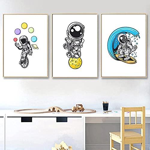 XMYC Póster de Arte Astronauta Cohete Luna mar Tabla de Surf Motocicleta Carteles nórdicos Cuadros de Pared decoración de habitación de niños 3 Piezas 50x70cm sin Marco